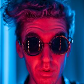 Do the time warp by Henk Meyers - People Portraits of Men ( glasses, color, amusing, psychedelic, self portrait, fun, big )