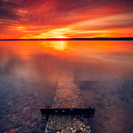 Road to underworld  by Ruslan Bolgov - Landscapes Sunsets & Sunrises ( clouds, curonian spit, reflection, colors, sunset, curonian gulf, lithuania )