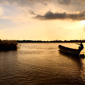 Glittering Moments by Ashikur Rahman - Landscapes Sunsets & Sunrises ( bangladesh, sunset, cloud, landscape, boat, skyscape, river )