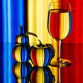 Primary Colors by Lisa Hendrix - Artistic Objects Glass ( inversion, reflection, fruit, colorful, colors, object, yellow, primary colors, red, pattern, blue, color, apple, wine glass, artistic, glass, pear )