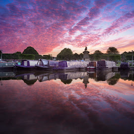 Stratford Upon Avon Basin by Dave Knibbs - Transportation Boats ( stratford upon avon, england, river avon, sunrise, boat, morning, narrow boat, shakespeare )