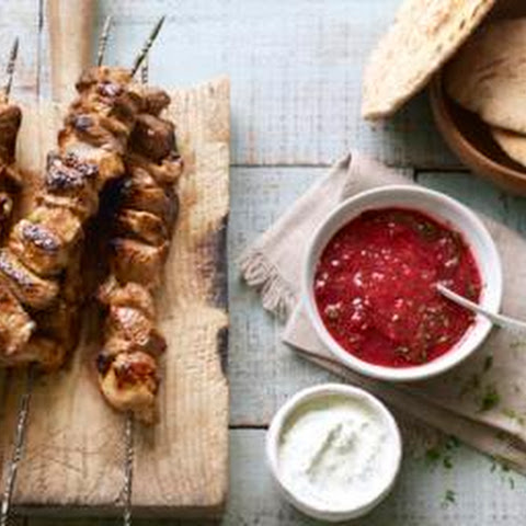 Shashlik Kebabs With Sour Cream Dip And Plum Sauce