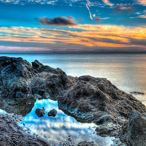 Ghost Coast by Fran McMullen - Landscapes Sunsets & Sunrises ( water, clouds, sky, sunset, tide, beach, rocks, ct, coast )