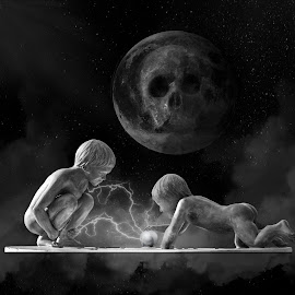 Boys will be boys by Brad Cheek - Digital Art People ( moon, lightening, boys, smoke, globe )