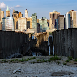 Ruined Pier by Judy Florio - City,  Street & Park  Skylines ( water, skyline, ruins, manhattan, cityscape, new york, landscape )