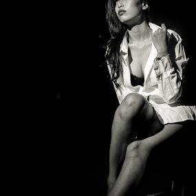 Sitting,Waiting and Wishing by Adi Mumun'k - People Portraits of Women ( model, sexy, fashion, sitting, waiting, wishing, onelight, beauty,  )