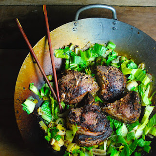 Dijon Seared Lamb Chops with Leeks & Bok Choy