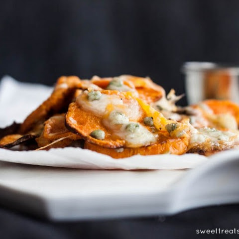 Oven Baked Blue Cheese & Cheddar Sweet Potato Rounds