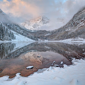Maroon Bells, Snow by Tom Cuccio - Landscapes Mountains & Hills ( winter, snow, colorado, landscape, maroon bells, aspen )