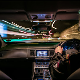WARP SPEED THROUGH TOWN by Martyn Anderson - Abstract Light Painting ( car, light trails, night, longexposure )