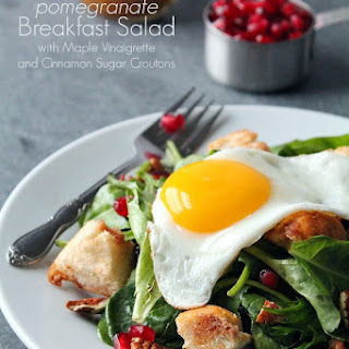 Pomegranate Breakfast Salad with Maple Vinaigrette and Cinnamon Sugar Croutons