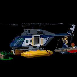 Helicopter to the rescue  by Jackie Matthews - Artistic Objects Toys ( helicopter, toys, boat, lego )