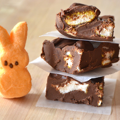 Chocolate Peanut Butter Marshmallow Peeps Fudge