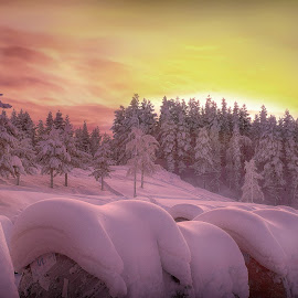 Sundown over Swe Lappland by Peter Björklund - Landscapes Sunsets & Sunrises (  )