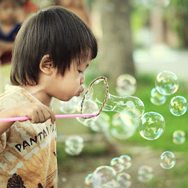 Playing Bubbles by Darlis Herumurti - Babies & Children Children Candids