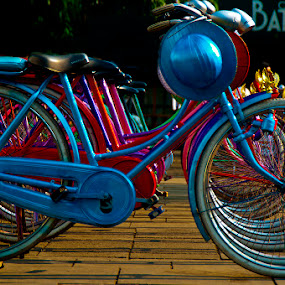 The old bicycles for tourists by Basuki Mangkusudharma - Transportation Bicycles ( old, tourists, bicycle )