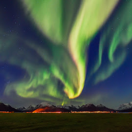 Fire in the sky and on the ground! by Jens Andre Mehammer Birkeland - Landscapes Mountains & Hills ( mountains, sky, mountain, aurora borealis, aurora, landscape, norway )
