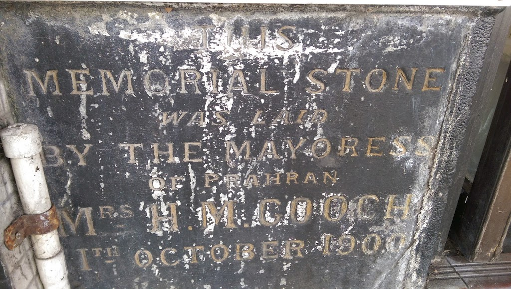 This memorial stone was laid by the Mayoress of Prahran Mrs H. M. Cooch 1th October 1900 This plaque sits at street level in South Yarra's popular Chapel Street. The building is now a personal ...