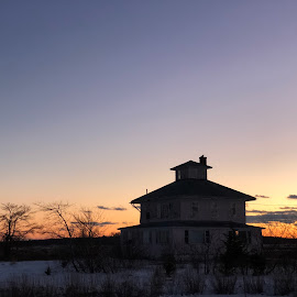 Pink House at Sunset by Kristine Nicholas - Novices Only Landscapes ( clouds, home, old, building, marsh, house, architecture, landscape, dusk, historic, bird, winter, wetlands, sunset, snow, owl, trees, antique )
