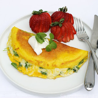 Pea Shoots, Tarragon and Swiss Cheese Omelet