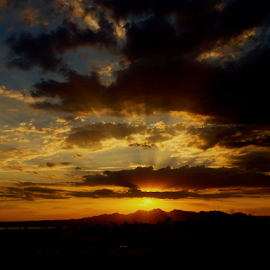 4th Of July Sunset by Becky McGuire - Landscapes Sunsets & Sunrises ( clouds, cook out, becky mcguire, hour, party, pyrotechnics, rays, sun, havasu, holiday, sky, nature, tvlgoddess, blue, sunset, arizona, fireworks, weather, 4th of july, celebration, gold, bbq, celebrate, black,  )