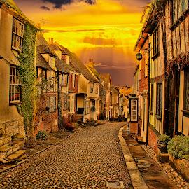 Mermaid Street Rye by Dave Godden - City,  Street & Park  Street Scenes ( timber, old, cobbled, houses, set, art, street, road, digital, mermaid, composite, sun, historic, sky, stock, sunset, sussex, east, medieval, rye )