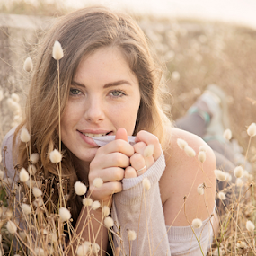 Erin by Linda Stander - People Portraits of Women ( young woman, nature, grass, beauty, bunny tales )