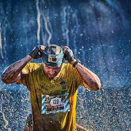 by Dragan Rakocevic - Sports & Fitness Running ( water, blue, camera, sport, 120, splash water photography, yellow, strongmanrun, fisherman friends, running, competition )