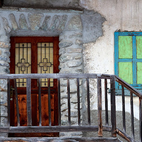Chalet Decor by Joe Proctor - Buildings & Architecture Architectural Detail ( decor, colourful, stairs, switerland, wooden door, stone work, windows, chalet, staicase )
