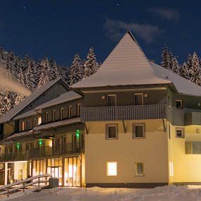 Pokljuka biathlon center in Slovenia by Aleš Mezek - Buildings & Architecture Other Exteriors ( pokljuka winter, pokljuka biathlon, pokljuka, pokljuka at night, pokljuka center )