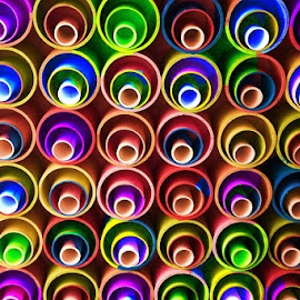 Colorful Polypropylene pipes arranged artistically... by Gautam Tarafder - Artistic Objects Other Objects