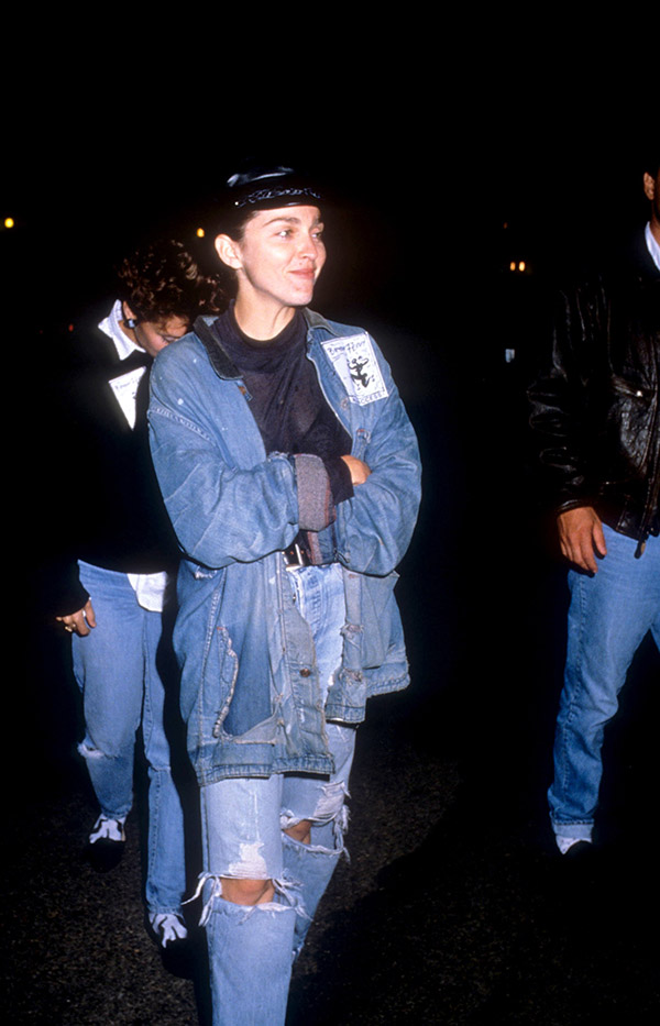 NEW YORK, NY - NOVEMBER, 1988: Singer Madonna walks in the street wearing waist high blue jeans and a jean jacket in November, 1988 in New York, New York. (Photo by Vinnie Zuffante/Archive Photos/Getty Images)