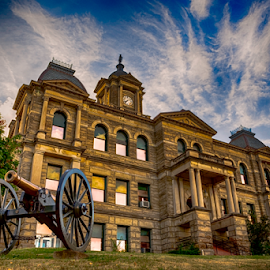 Harrison County Courthouse by Jackie Nix - Buildings & Architecture Public & Historical ( clouds, cadiz, civil war, appalachia, stone, tourism, travel, architecture, high dynamic range, historic, cannon, history, americana, landmark, harrison county courthouse, ohio, iconic, arches, town square,  )