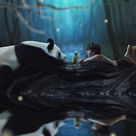 Making Friends by Danielle Benbeneck - Digital Art People ( fantasy, child, fireflies, forrest, panda, blue, night, rat, boy, composite )