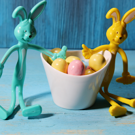Easter Egg candy with bunnies by Dipali S - Artistic Objects Toys ( rabbit, pastel, spotted, decorative, wood, colorful, yellow, egg, spring, rustic, candy, dessert, top, bunny, symbol, decoration, white, delicious, holiday, tasty, chocolate, sweet, eggs, easter, food, background, view, small )