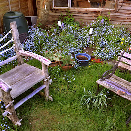 two seats by Dean Moriarty - Artistic Objects Furniture ( wooden, grass, chairs, seats, flowers, garden )