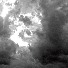 Through the Dark the Light Will Rise by Michelle Baity - Landscapes Cloud Formations ( clouds, blackandwhite, sky, bw, cloud formation, skyscape )