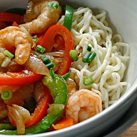 Tofu Noodles (Shirataki) with Peppers and Shrimp