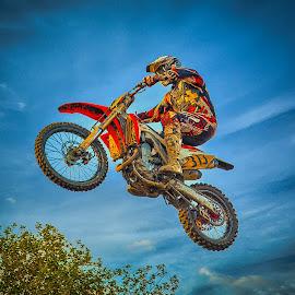 Fly away  by Dragan Rakocevic - Sports & Fitness Motorsports ( sky, motocross, sport, competition, jump )