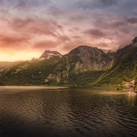 Hallstatt by Ole Steffensen - City,  Street & Park  Vistas ( mountains, sunset, lake, town, hallstatt, austria, hallstätter see )