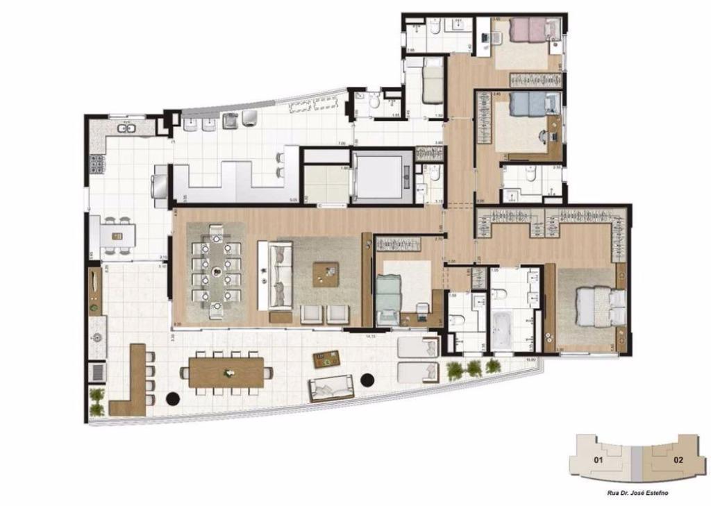 Planta 4 suítes - 271 m²