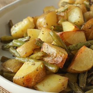 Bourbon Duck Fat-Roasted Potatoes and Green Beans