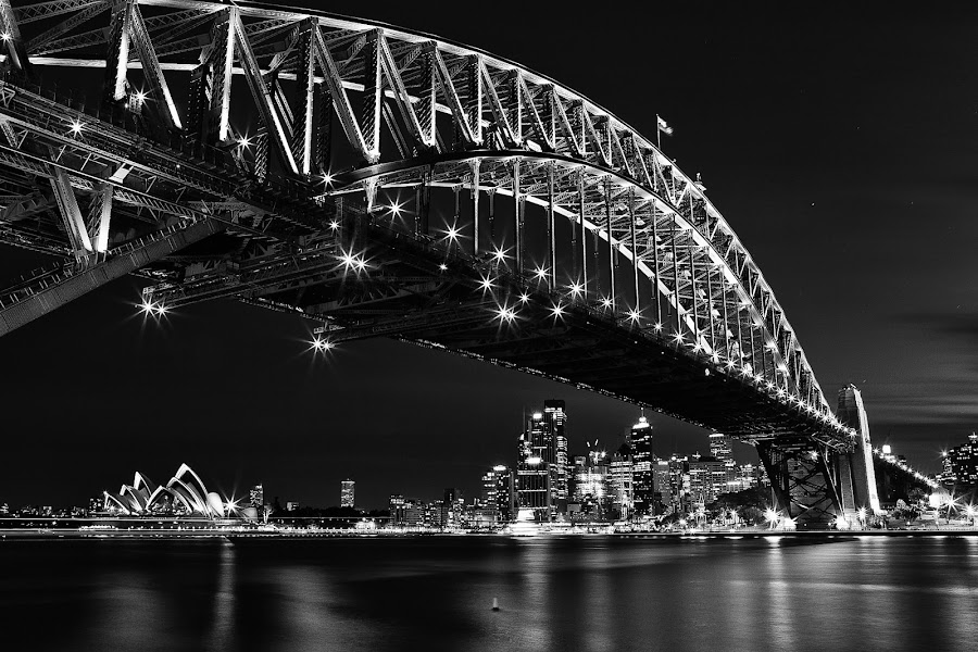 Sydney Opera House over Sydney Harbour Bridge by Handi Laksono - Buildings & Architecture Bridges & Suspended Structures ( black and white, black and white collection, bridge, sydney )