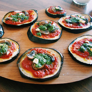 Mini Eggplant Paleo Pizzas With Fresh Basil Pesto