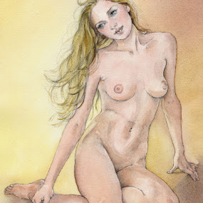 Figure Study by Margaret Merry - Painting All Painting ( pastel, figure study, girl, nude, female, woman, naked, art, painting, print, drawing, figurative art )