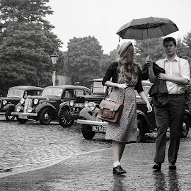 Umbrella by Paul Bicker - People Street & Candids ( vintage, cars, candid, people, photography,  )