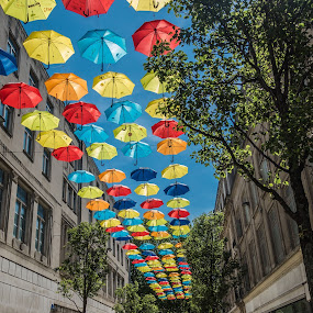 Umbrellas by Nigel Bishton - City,  Street & Park  Street Scenes (  )