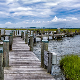 The Dock by Carol Ward - Buildings & Architecture Bridges & Suspended Structures ( boat dock, waterscape, south point md, seascape, dock )