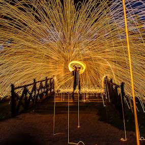Spin by the Bridge by Adrian Choo - Abstract Fire & Fireworks ( dawn, steel wool, spin, bridge, sparks, fire )