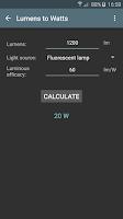 Screenshot of Lighting calculations